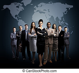 business people team - business people team with world map