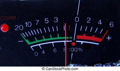 VU meter, closeup, pan left - Volume Units meter, closeup,...