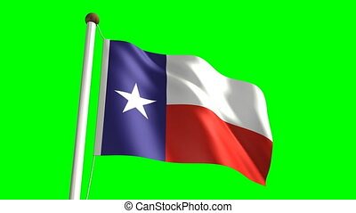 Texas flag with green screen - 3D Texas flag videoseamless...