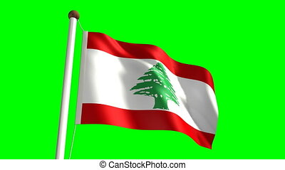 Lebanon flag Loop and green screen - 3D Lebanon flag video...