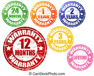 set of warranty stamps - Set of warranty grunge rubber...