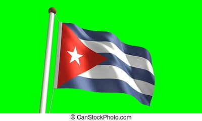 Cuba flag Loop and green screen - 3D Cuba flag video...