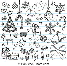 Christmas Sketchy Doodles Set - Christmas Sketchy Notebook...