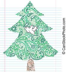 Christmas Tree Dove Sketchy Doodle - Hand-Drawn Christmas...