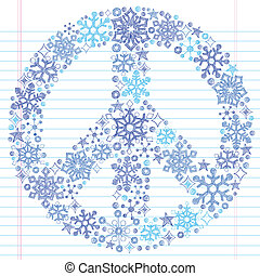 Snowflake Peace Sign Sketchy Doodle