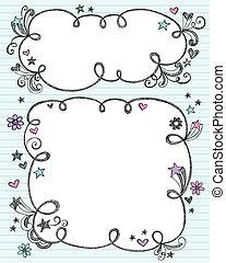 Sketchy Doodle Cloud Frames Set - Hand-Drawn Sketchy Cloud...