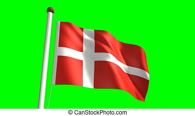 Denmark flag Loop and green screen - 3D Denmark flag video...
