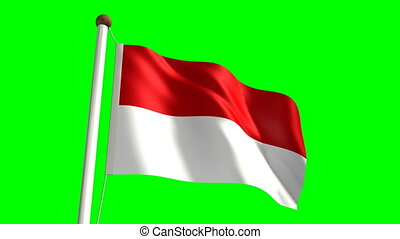 Indonesia flag (Loop & green screen