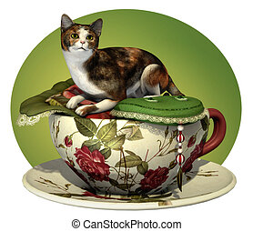 Cat n Cup Calico - a decorative illustration with a calico...
