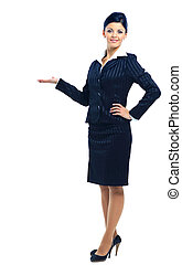Smiling business woman pointing and presenting, full length...