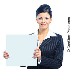 Happy smiling young business woman showing blank signboard,...