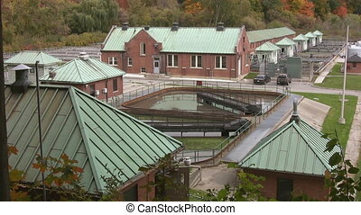Water treatment plant - Two different shots of a wastewater...