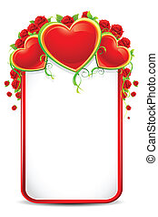 Love Card - illustration of love card with rose and heart on...