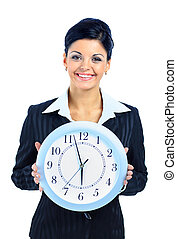 Feliz, mulher, pretas, relógio, sobre, branca