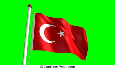 Turkey flag Loop and green screen - 3D Turkey flag video...