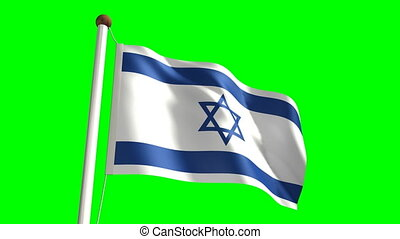 Israel flag Loop and green screen - 3D Israel flag video...