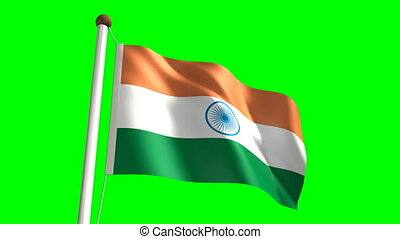 India flag (Loop & green screen) - 3D India flag video...