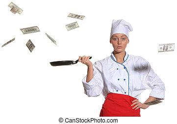 woman-cook frying pan catches money isolated on white