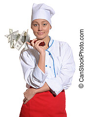 happy woman- chef with knife and money isolated on white