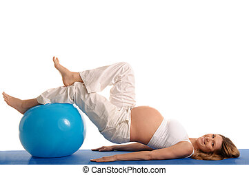 pregnant woman practicing yoga with blue ball isolated on...