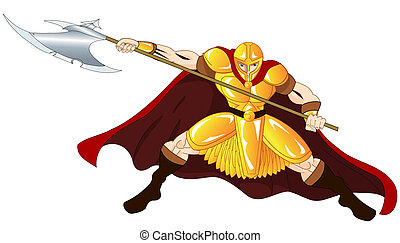 Gold Warrior with spear defending his position