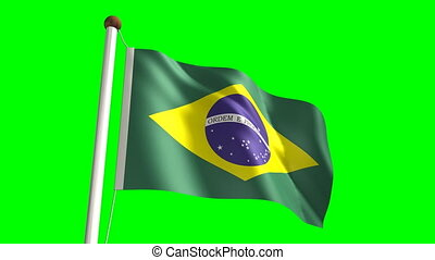 Brazil flag Loop and green screen - 3D Brazil flag video...