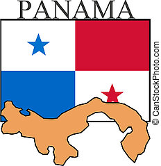 Panama - Illustration of Panama  flag, map and name.