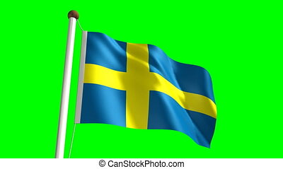 Sweden flag Loop and green screen - 3D Sweden flag video...