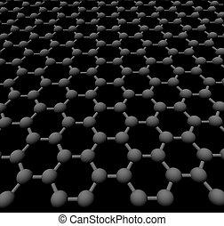 graphite crystal lattice - three-dimensional graphite...