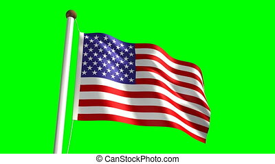 USA flag with green screen - 3D USA flag videoseamless green...