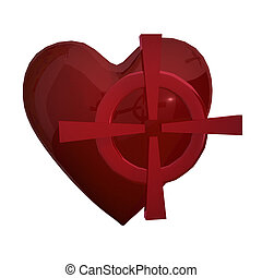 Target heart - Red heart with red target