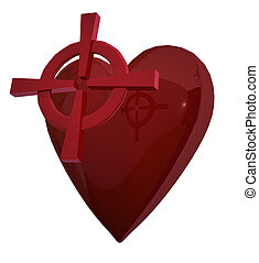 Red heart with target - Red heart and red target on white
