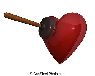 Cupid joke - Rubber plunger and red heart on white