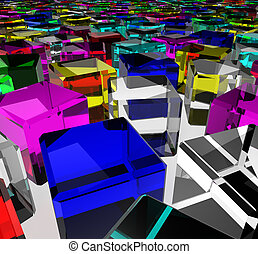 Color glass cubes - a lot of color messy glass cubes