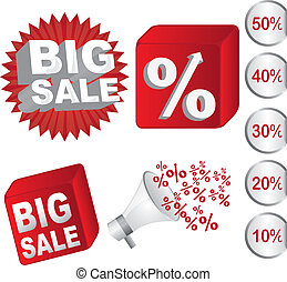 big sale - red and white big sale icons and discounts vector...