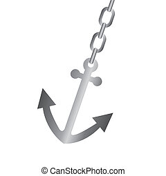 anchor vector - silver anchor with chain isolated over white...