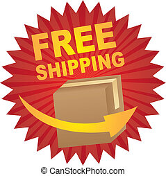 free shipping - red free shipping tag with box and arrow...
