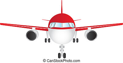 plane vector - red and white front plane isolated over white...