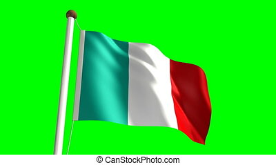 Italy flag Loop and green screen - 3D Italy flag video...