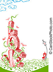 Love Tree - illustration of colorful love card in doodle...