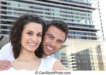 Couple in build up area