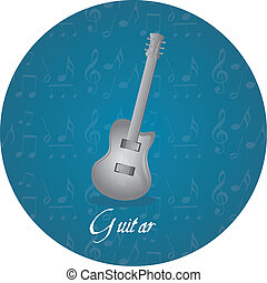 guitar circle tag - silver guitar over circle tag isolated...