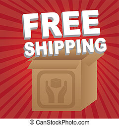 free shipping with box over red background. vector...