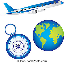 plane, planet and compass