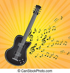 guitar vector - black guitar with music notes over yellow...