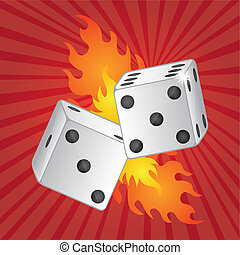 dices with fire - two dices with fire over red background...