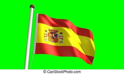 Spain flag (Loop & green screen) - 3D Spain flag video...