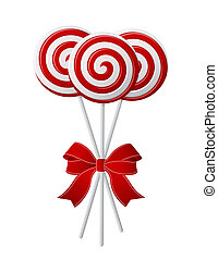 Lollipops with red ribbon - Bunch of Red and White candies...