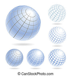 Abstract Globe Icons Set - Vector design elements of light...