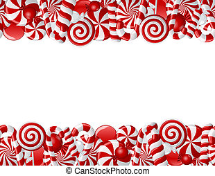 Frame made of red and white candies Seamless pattern